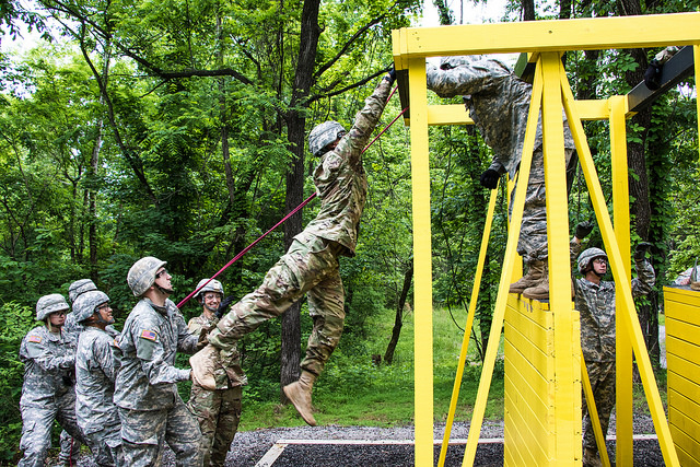 Teamwork makes the dream work: Cadets learn to work as a team through the Field Leadership Reaction Course (FLRC)