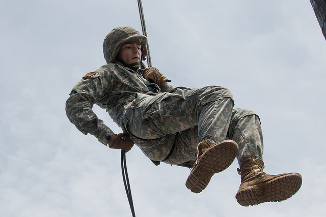 Rappel tower and confidence course, one step at a time for Cadets