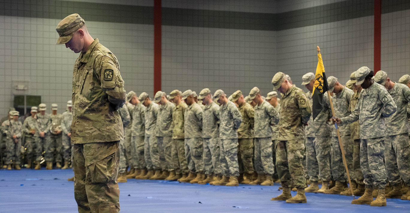 Commander of Troops leads Cadets though graduation