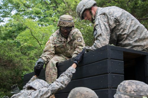 Teamwork Makes the Dream Work. 1st Regiment Advanced Camp takes on Field Leader's Reaction Course!