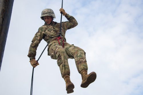 Off to New Heights! Advanced Camp, 4th Regiment Cadets Conquer the Rappel Tower