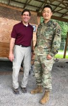 Cadet Christopher Han with Secretary of the Army, Dr. Mark T. Esper during Cadet Summer Training 2108 at Ft. Knox, KY.