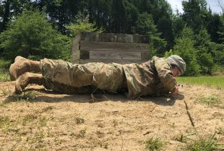 Cadet participates in the Grenade Assault Course.