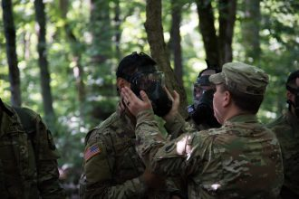 CBRN instructors make sure the Cadets have their mask on tight before heading into the chamber: https://www.flickr.com/photos/136737541@N05