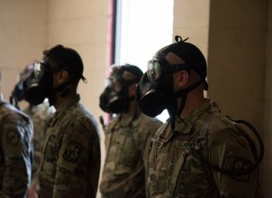 Army ROTC Cadets await instruction from inside of the CBRN Chamber: https://www.flickr.com/photos/136737541@N05