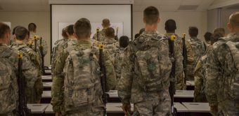 Cadets look at a map.
