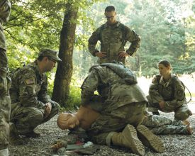 Cadets practice first aid.