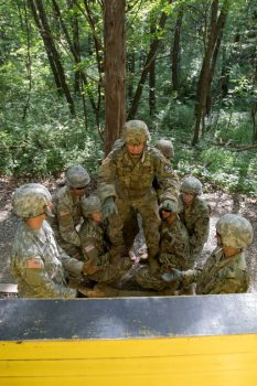 Cadets navigate an obstacle