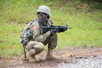 A Cadet stands watch.