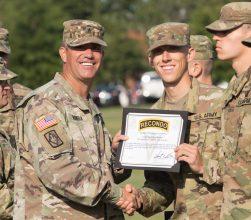 A Cadet receives an award.