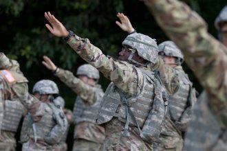 Cadets prepare to throw practice grenades