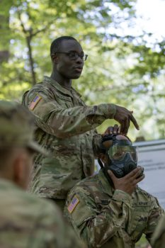2nd Lt. Douglas gives a demonstration during the introductory CBRN class.