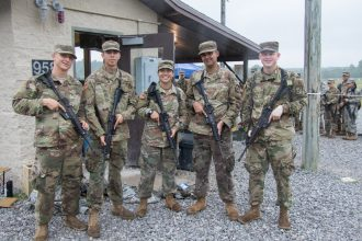 Cadets pose for a photo.