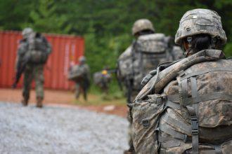 Cadets walk through the FTX.