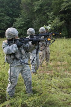 Cadets practice a battle drill.