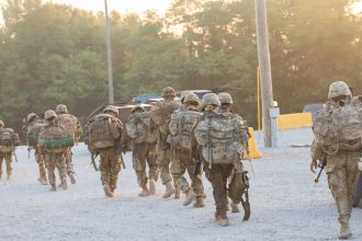 Cadets finish up their ruck march.